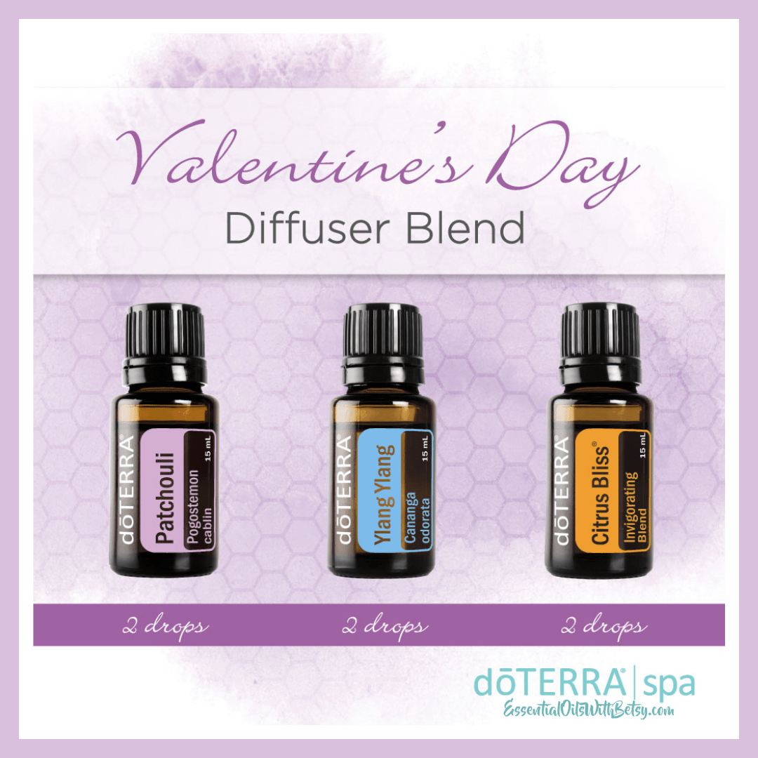 Valentine's Day Diffuser Blend 1 drop Patchouli essential oil 1 drop Ylang Ylang essential oil 6 drops doTERRA Citrus Bliss essential oil blend Purchase this blend with a diffuser today. It's your ready to go Valentine's holiday gift!