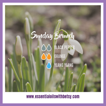 Sunday Brunch Diffuser Blend 2 drops of Black Pepper 2 drops of Orange 1 drop of Ylang Ylang